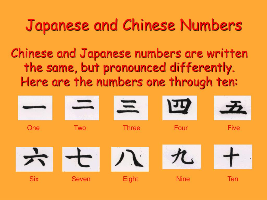 Chinese and Japanese numbers are written the same, but pronounced differently. Here are the numbers one through ten:
