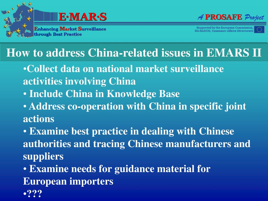 How to address China-related issues in EMARS II