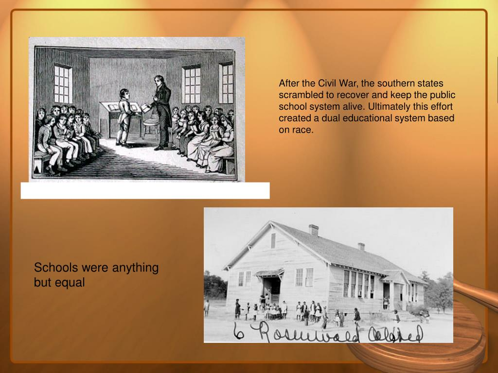 After the Civil War, the southern states scrambled to recover and keep the public school system alive. Ultimately this effort created a dual educational system based on race.