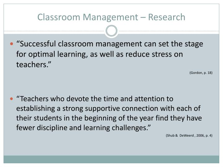 Classroom Management – Research