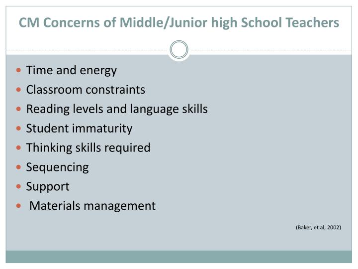 CM Concerns of Middle/Junior high School Teachers
