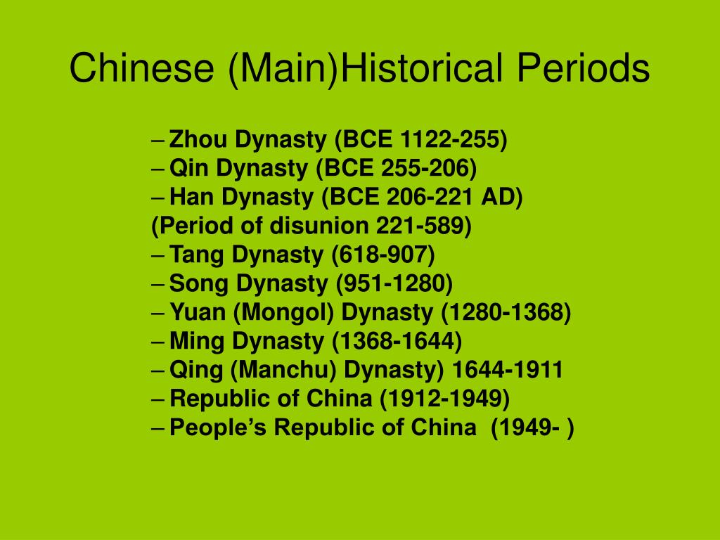 Chinese (Main)Historical Periods
