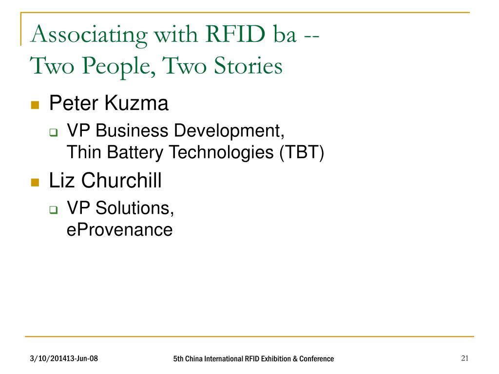 Associating with RFID ba --