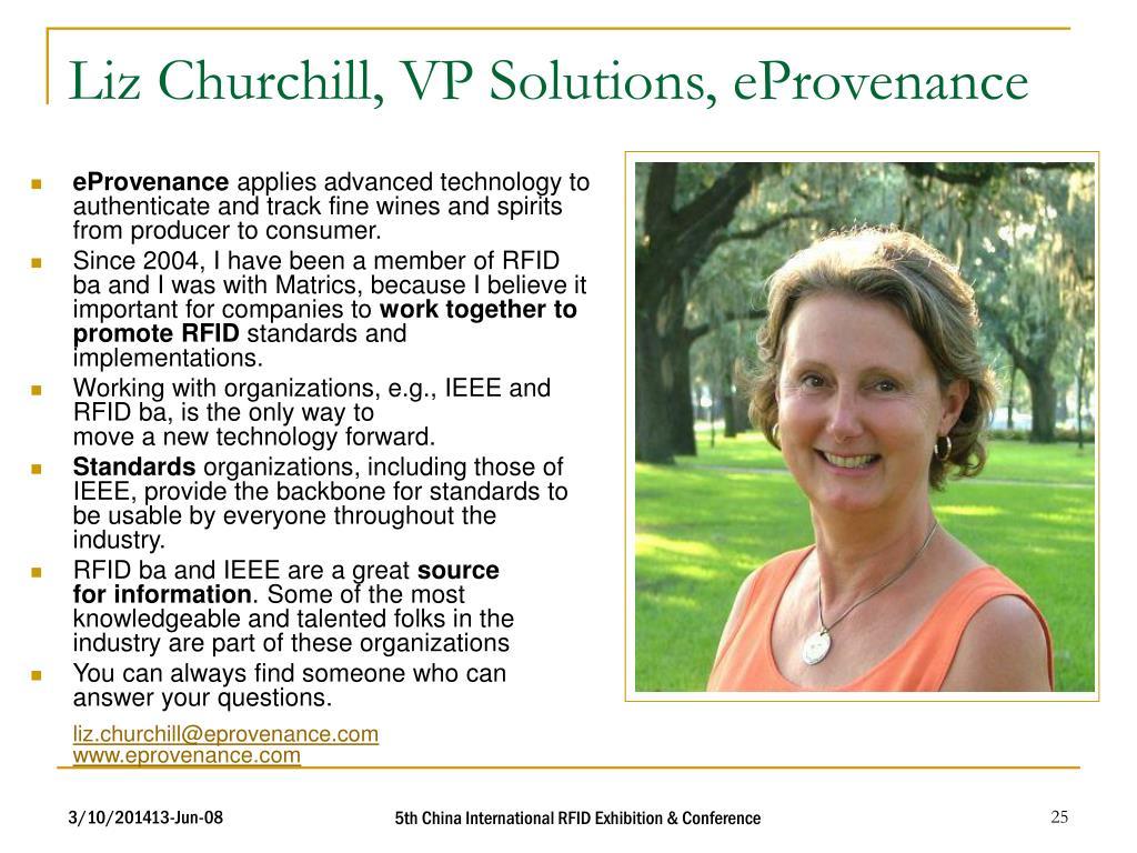 Liz Churchill, VP Solutions, eProvenance