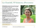 liz churchill vp solutions eprovenance