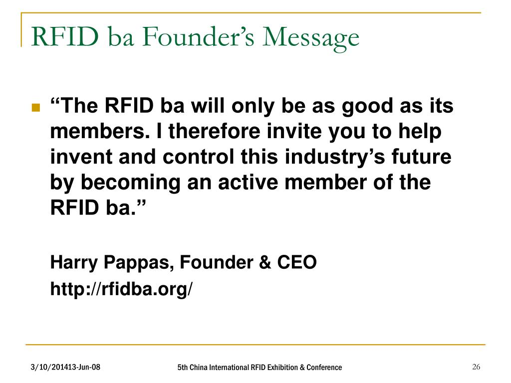 RFID ba Founder's Message