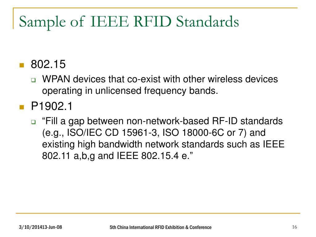 Sample of IEEE RFID Standards