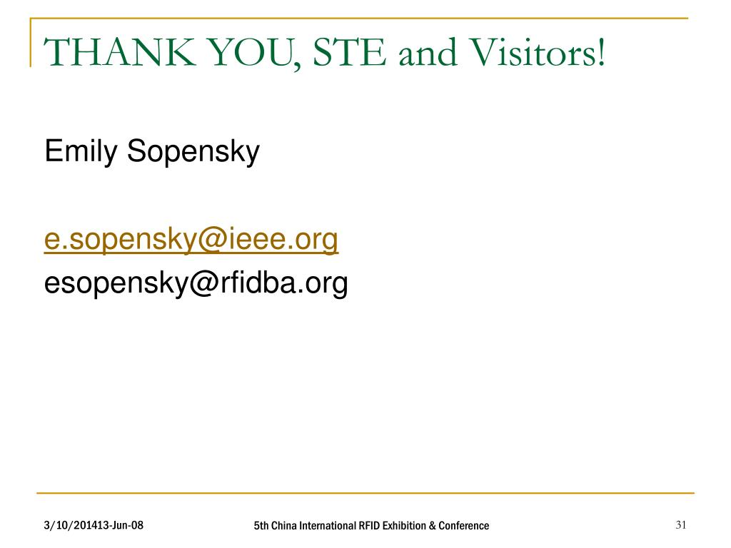 THANK YOU, STE and Visitors!