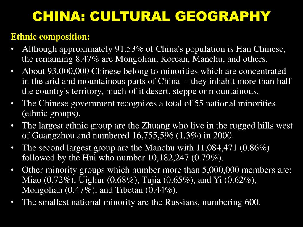 CHINA: CULTURAL GEOGRAPHY