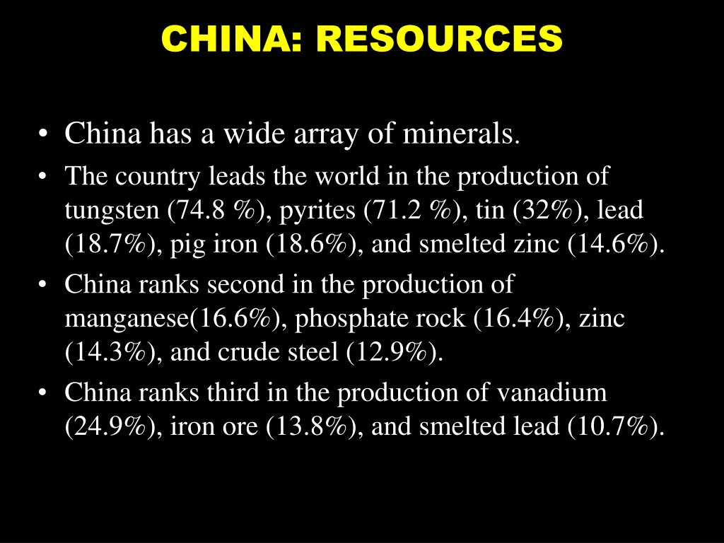 CHINA: RESOURCES