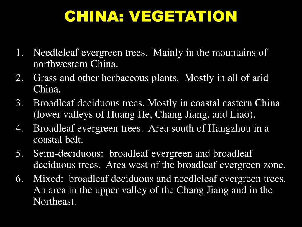 CHINA: VEGETATION
