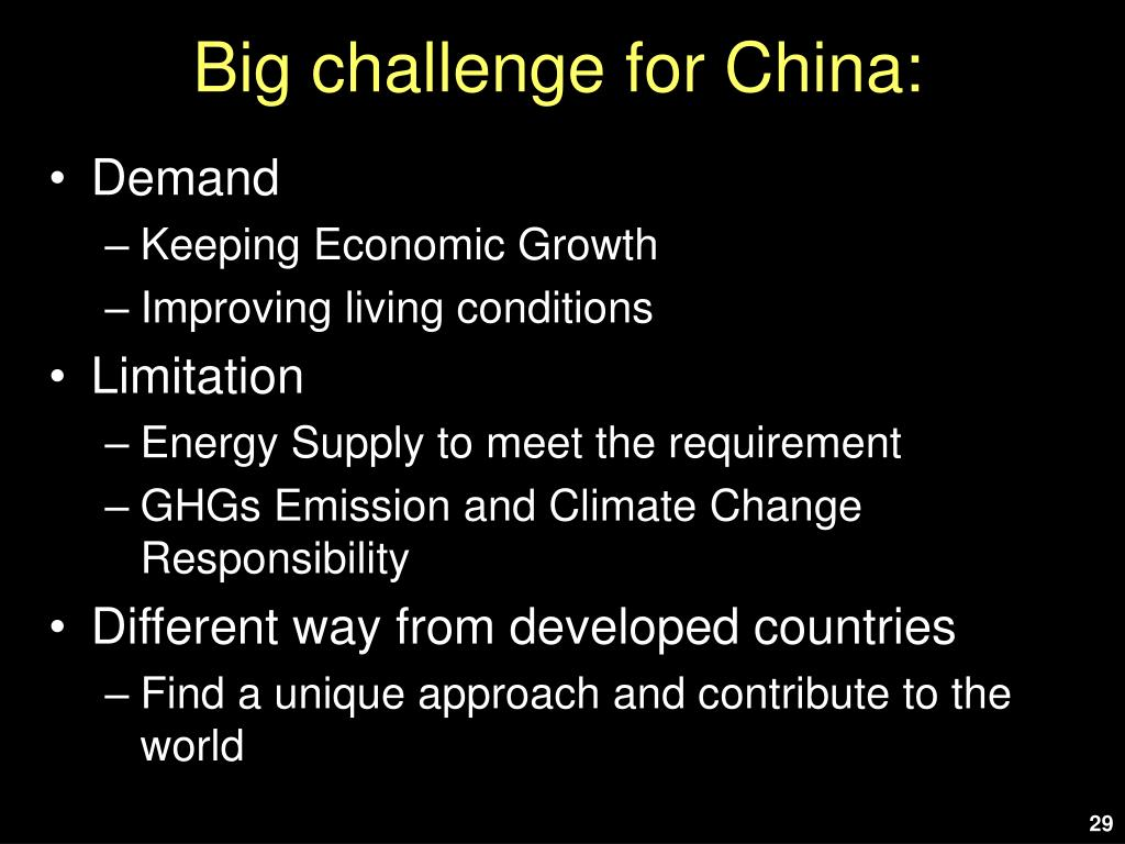 Big challenge for China: