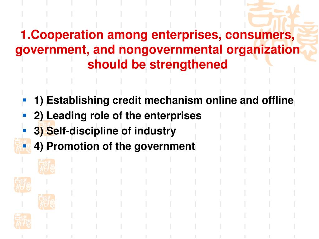 1.Cooperation among enterprises, consumers, government, and nongovernmental organization should be strengthened