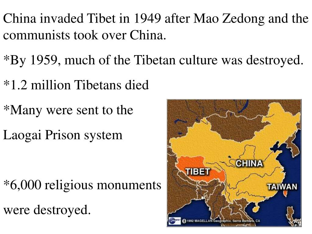 China invaded Tibet in 1949 after Mao Zedong and the communists took over China.
