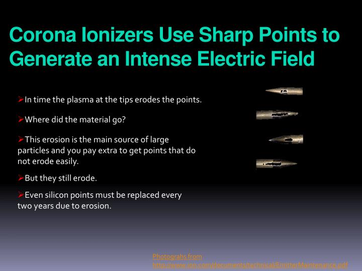 Corona Ionizers Use Sharp Points to Generate an Intense Electric Field