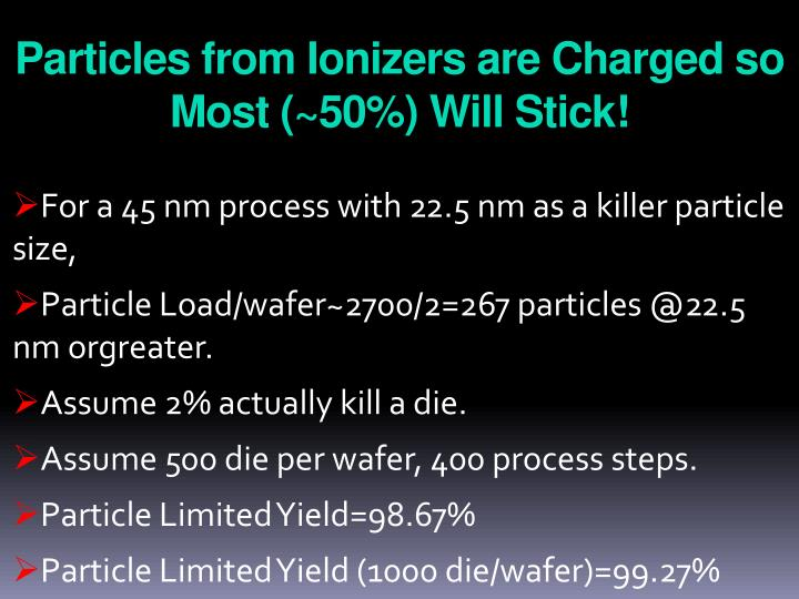 Particles from Ionizers are Charged so Most (~50%) Will Stick!