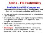 china fie profitability