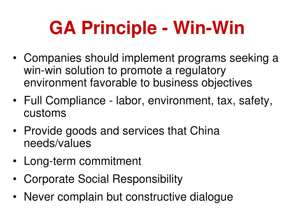 GA Principle - Win-Win