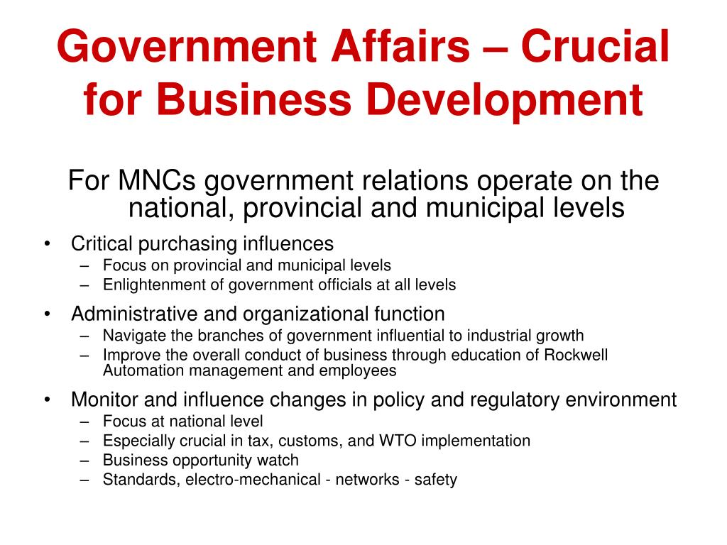 Government Affairs – Crucial for Business Development