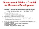government affairs crucial for business development