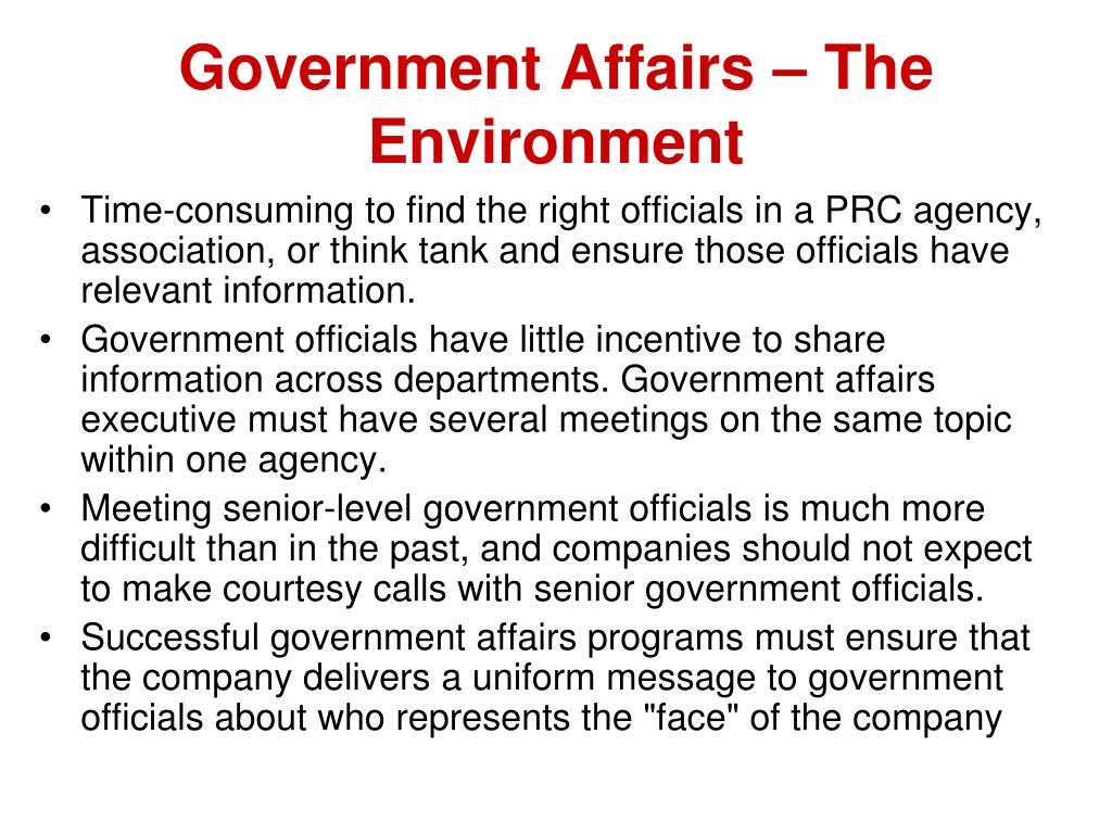 Government Affairs – The Environment