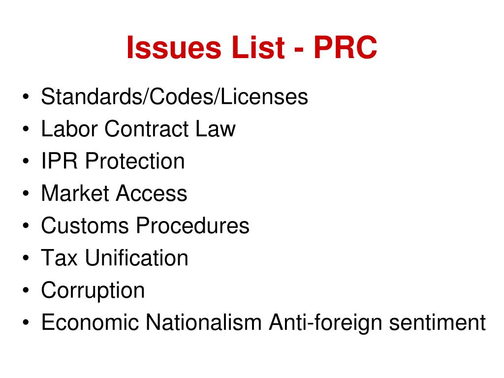 Issues List - PRC
