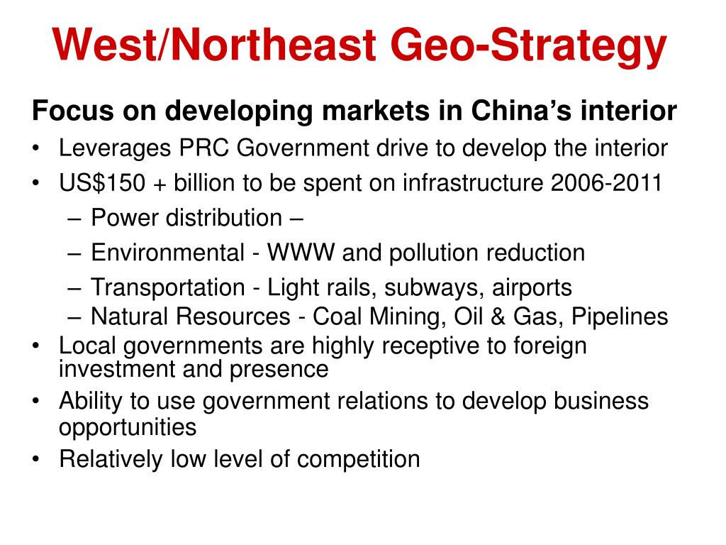 West/Northeast Geo-Strategy