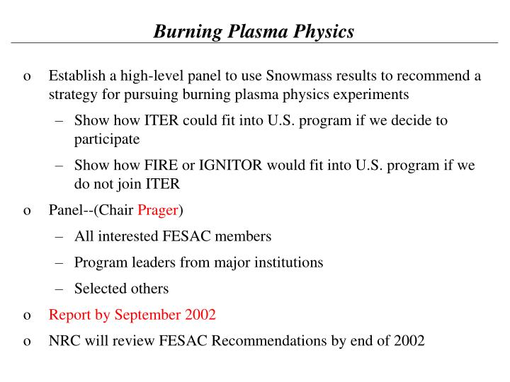 Burning Plasma Physics