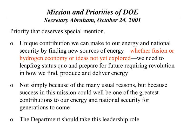 Mission and Priorities of DOE