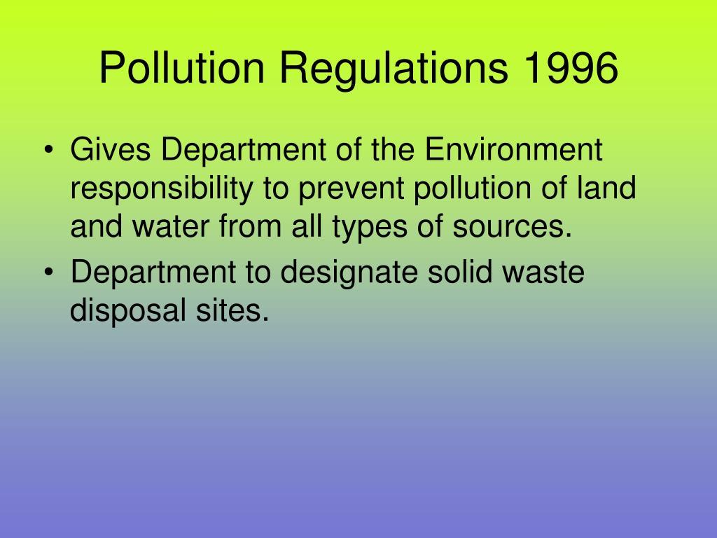 Pollution Regulations 1996