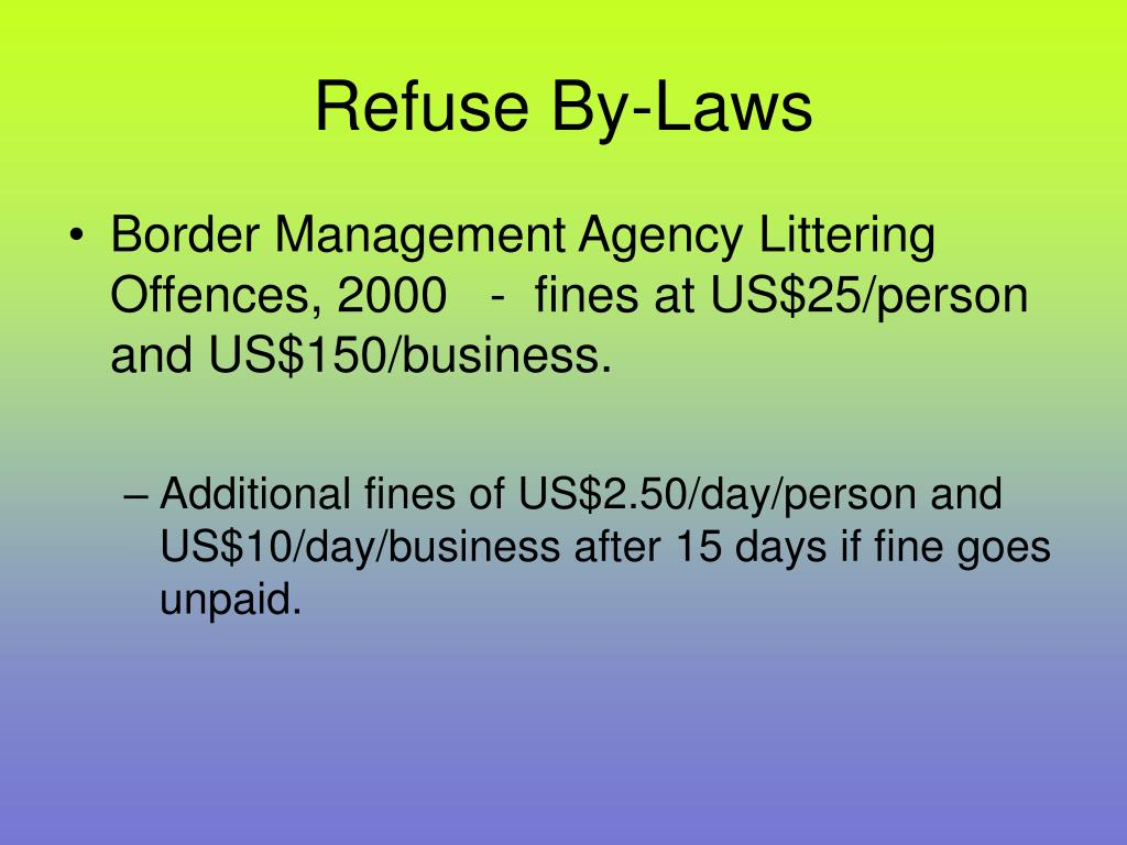 Refuse By-Laws