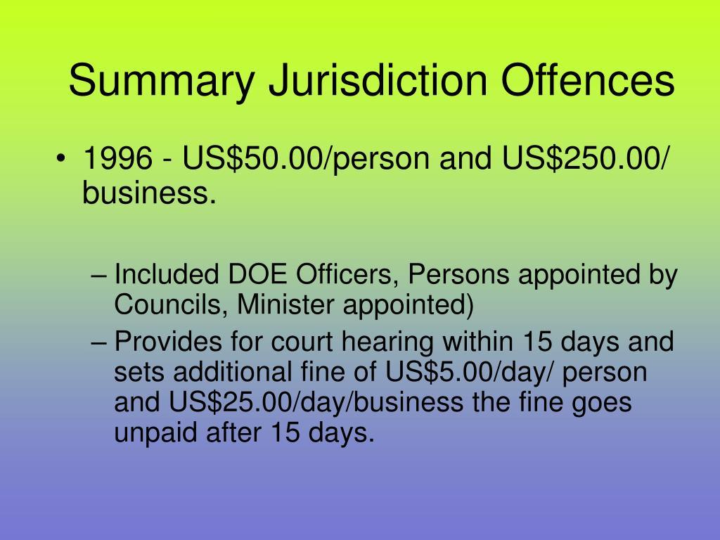 Summary Jurisdiction Offences