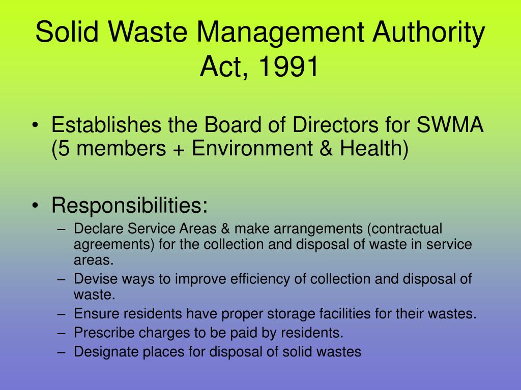 Solid Waste Management Authority Act, 1991