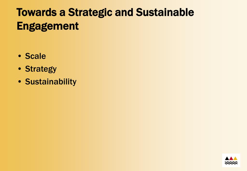 Towards a Strategic and Sustainable Engagement