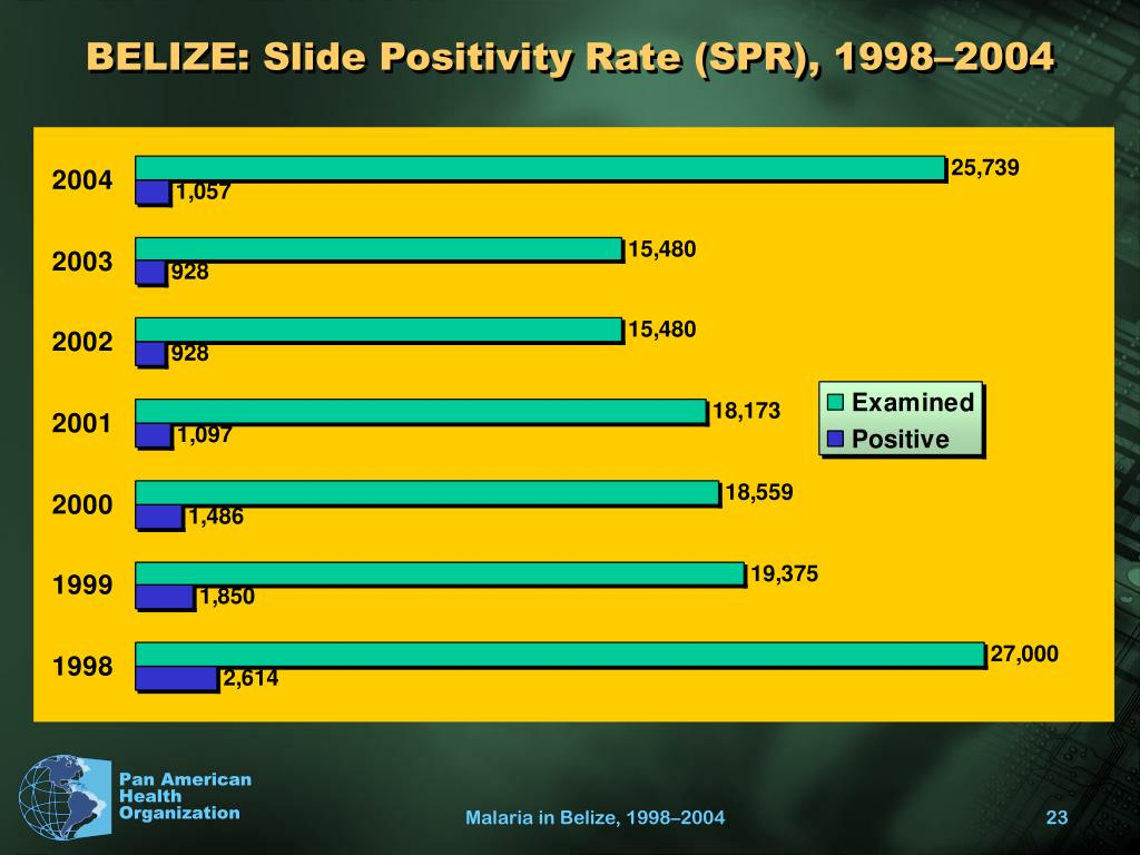 BELIZE: Slide Positivity Rate (SPR), 1998–2004
