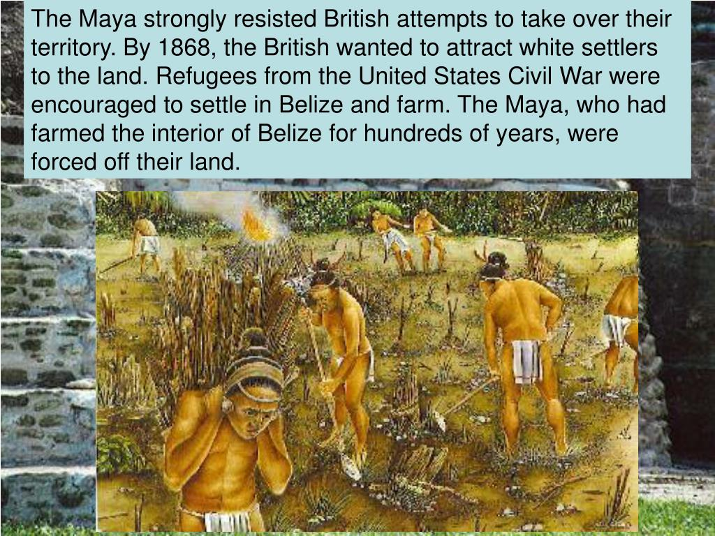 The Maya strongly resisted British attempts to take over their territory. By 1868, the British wanted to attract white settlers to the land. Refugees from the United States Civil War were encouraged to settle in Belize and farm. The Maya, who had farmed the interior of Belize for hundreds of years, were forced off their land.