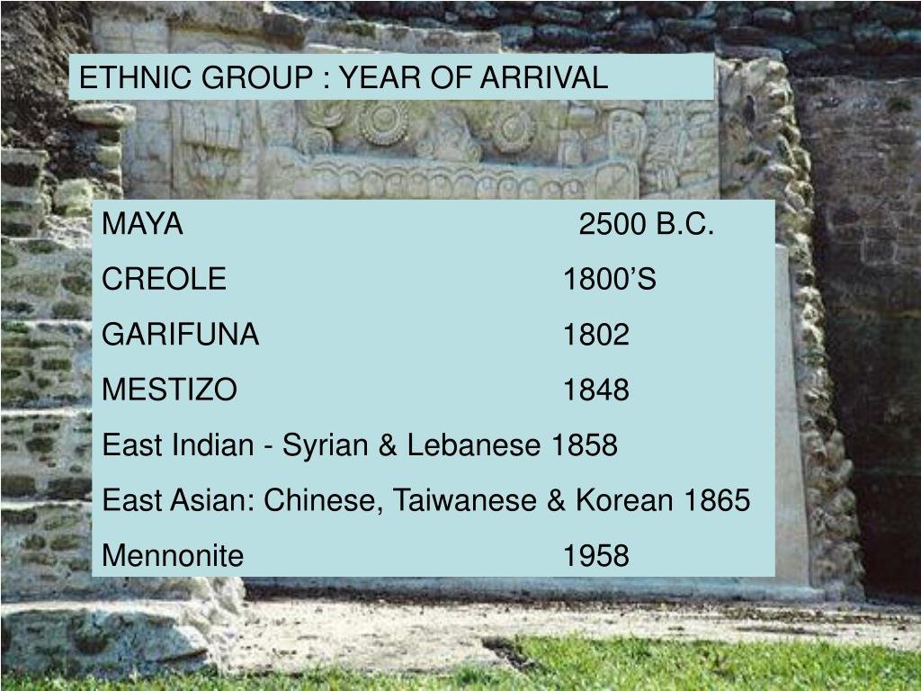 ETHNIC GROUP : YEAR OF ARRIVAL