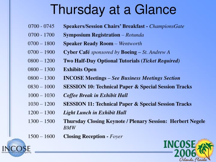 Thursday at a Glance