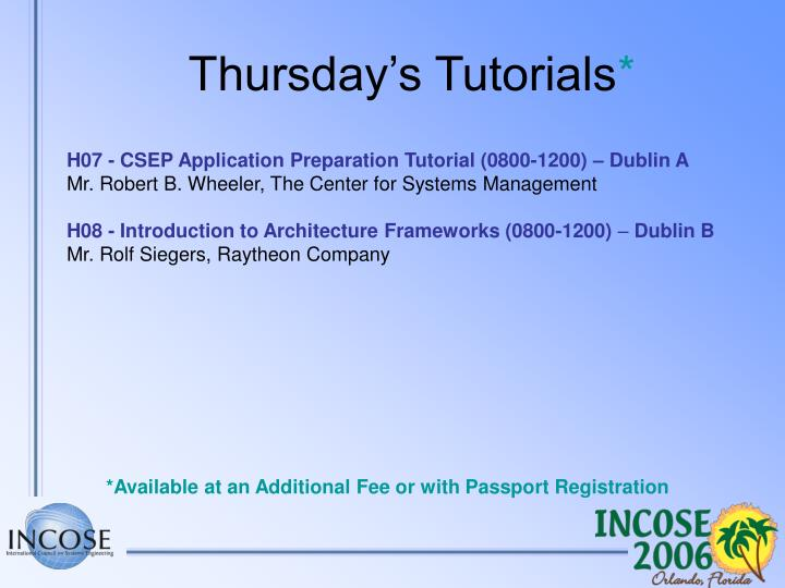 Thursday's Tutorials