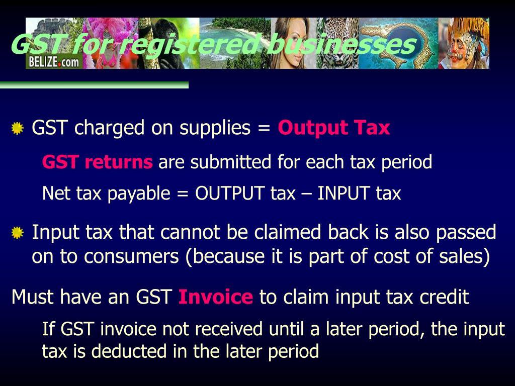 GST for registered businesses