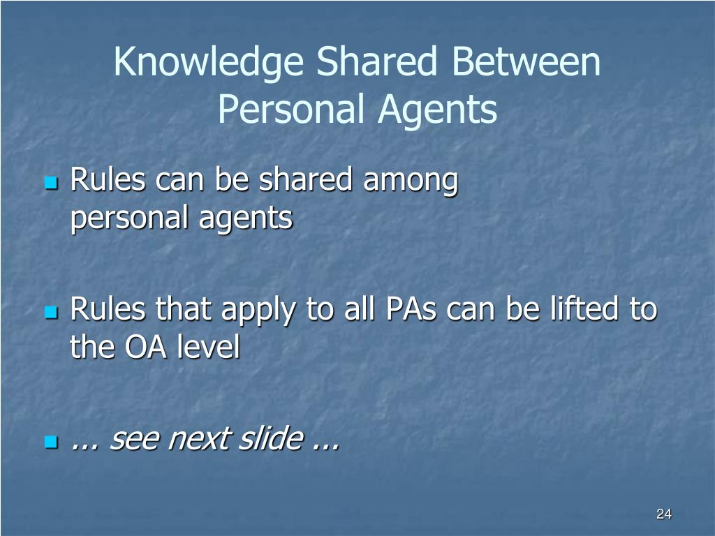 Knowledge Shared Between Personal Agents