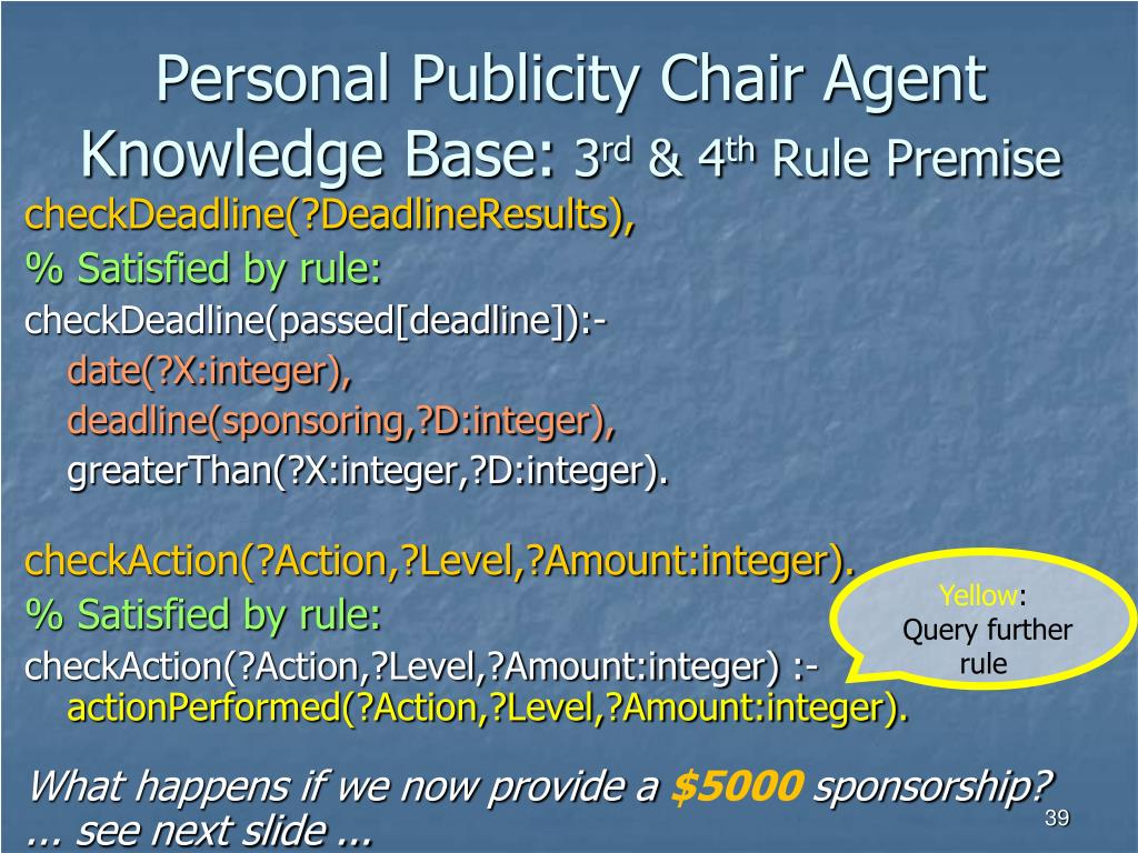 Personal Publicity Chair Agent Knowledge Base: