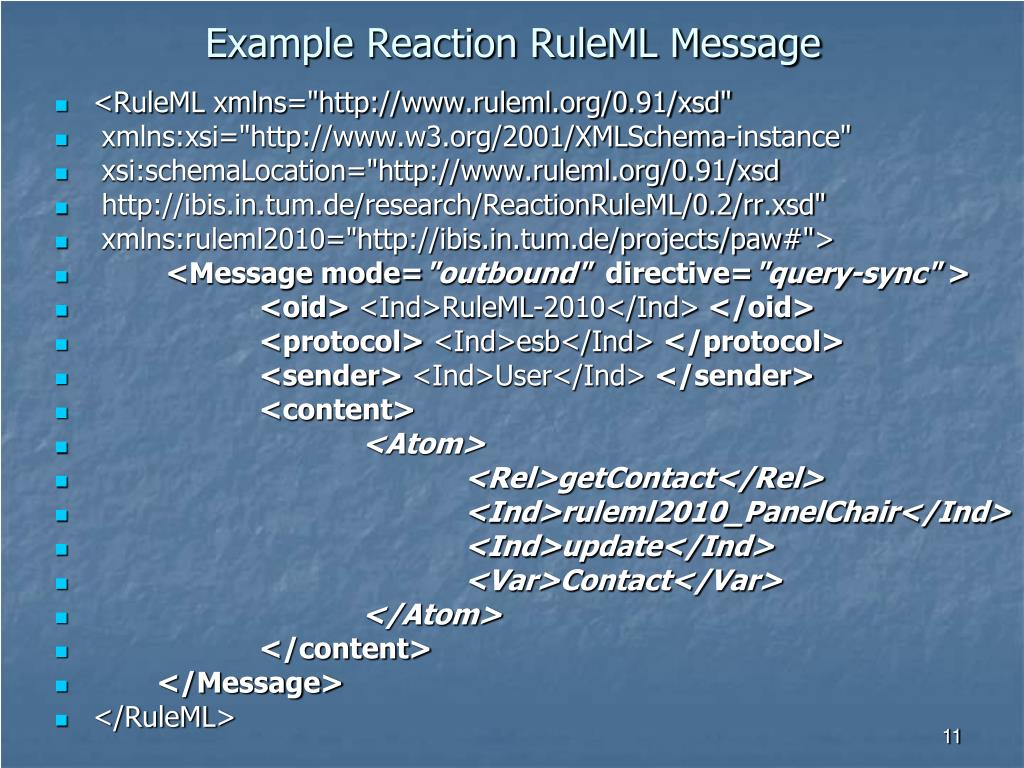 Example Reaction RuleML Message