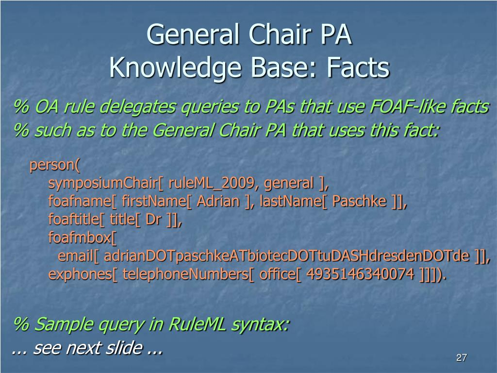 General Chair PA