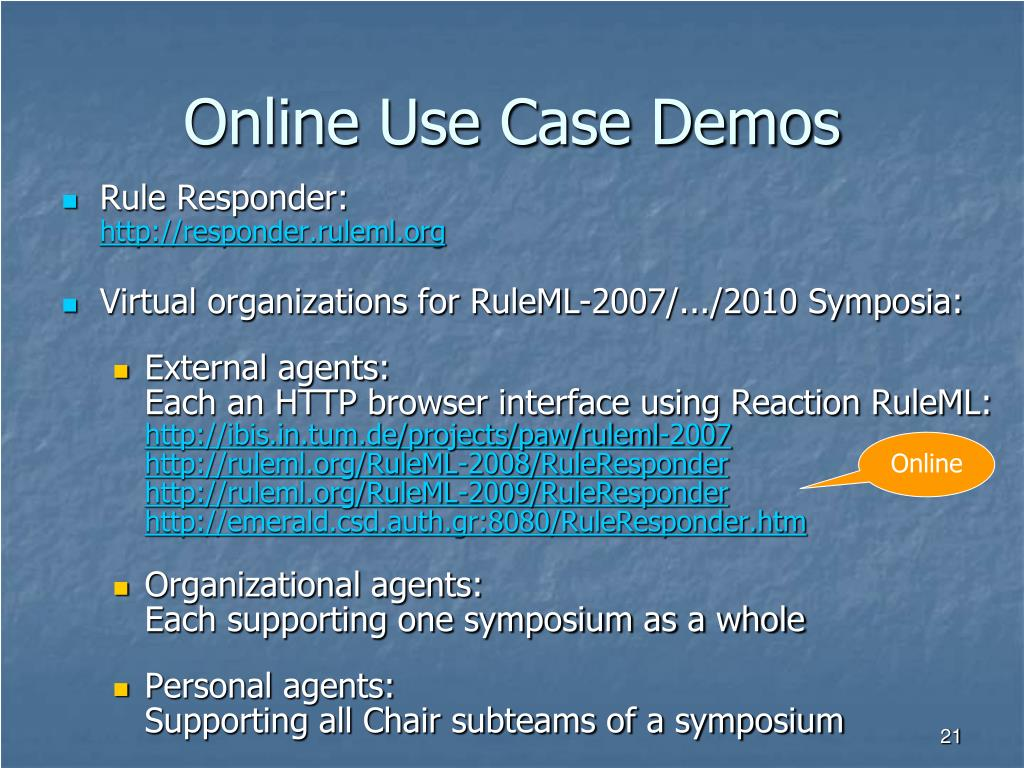 Online Use Case Demos