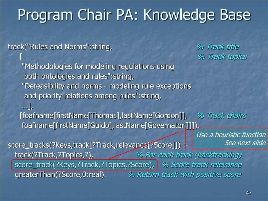 Program Chair PA: Knowledge Base