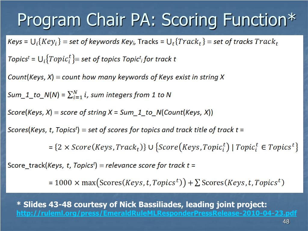 Program Chair PA: Scoring Function