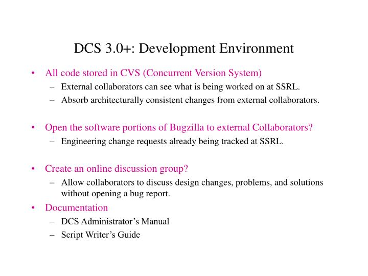 DCS 3.0+: Development Environment
