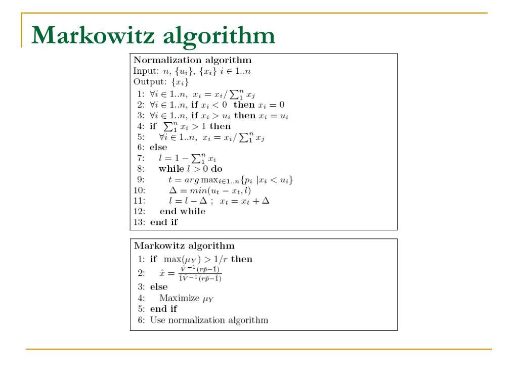 Markowitz algorithm
