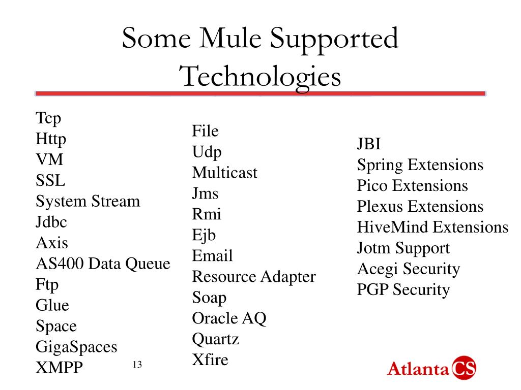 Some Mule Supported Technologies